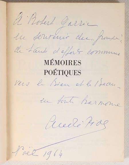 PIOT (André) - Mémoires poétiques - 1963 - Envoi de l'auteur - Photo 0 - livre de bibliophilie