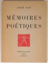 PIOT (André) - Mémoires poétiques - 1963 - Envoi de l auteur - Photo 1, livre rare du XXe siècle