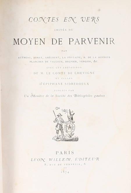Contes en vers imités du moyen de parvenir - Willem 1874 - Photo 2, livre rare du XIXe siècle