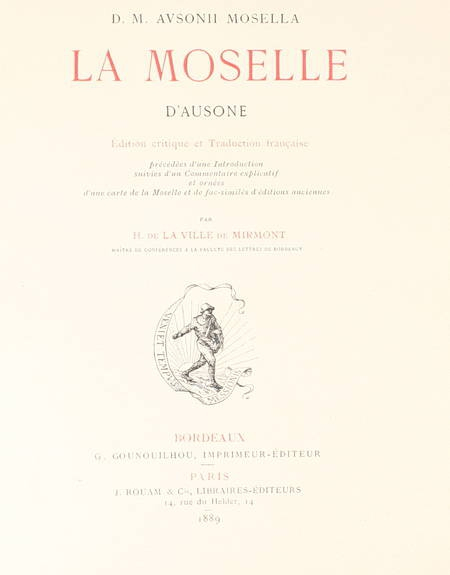 AUSONE - La Moselle d'Ausonne. Edition critique - 1889 - Photo 0 - livre d'occasion