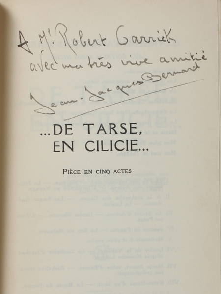 BERNARD (Jean-Jacques). De Tarse, en Cilicie. Pièces en cinq actes