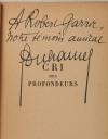 [Littérature] DUHAMEL - Cri des profondeurs -1951 - Envoi - Photo 0, livre rare du XXe siècle