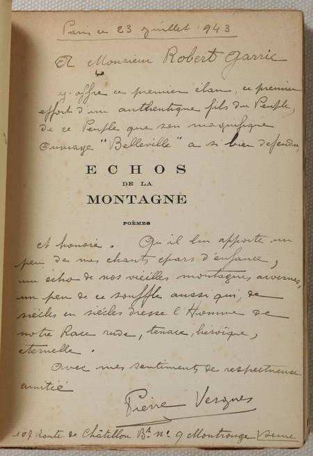 VERGNES (Pierre). Echos de la montagne. Poèmes, livre rare du XXe siècle