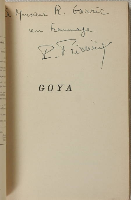 FREDERIX - Goya - 1928 - Illustrations - Envoi - Photo 0 - livre de bibliophilie