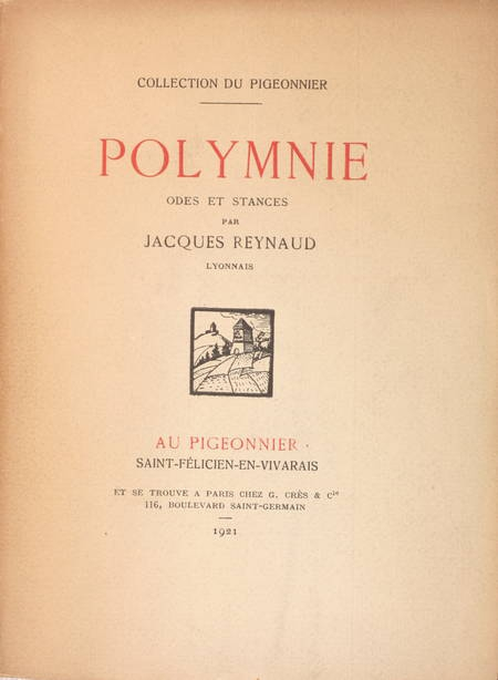 REYNAUD - Polymnie. Odes et stances. Bois de Adrien Mitton - 1921 - Envoi - Photo 1, livre rare du XXe siècle