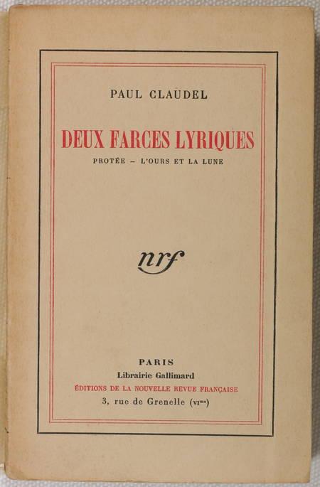 [Théâtre] CLAUDEL Deux farces lyriques. Protée. L'ours et la lune 1927 - Lafuma - Photo 1 - livre de collection