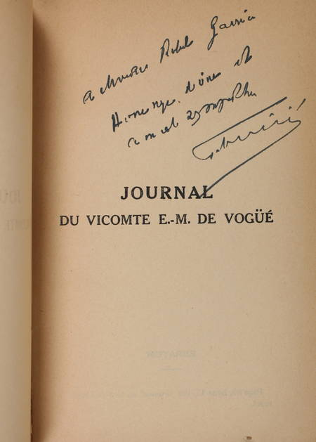 DE VOGUE (Vicomte E.-M.). Journal. Paris, Saint-Pétersbourg. 1877-1883. Publié par Félix de Vogüé