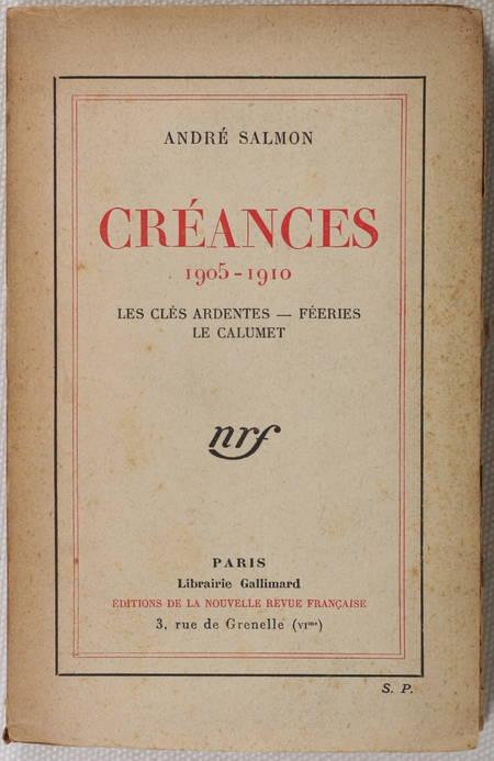 André SALMON - Créances - 1905-1910 - 1926 - S. P. - Envoi signé - Photo 1 - livre du XXe siècle