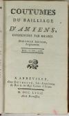 Coutumes du bailiiage d Amiens, commentées par Ricard. Nouvelle édition - 1781 - Photo 0, livre ancien du XVIIIe siècle