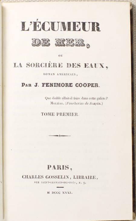 FENIMORE COOPER - L écumeur de mer, ou la sorcière des eaux - 1831 - 2 vol. - Photo 1 - livre de bibliophilie