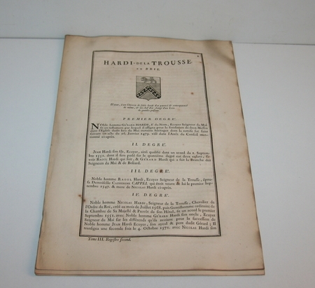 HOZIER - Généalogie Hardi de la Trousse en Brie - 1741 - Photo 1 - livre ancien