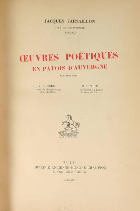 JARSAILLON - Oeuvres poétiques en patois d'Auvergne - 1929 - Armes des Roys - Photo 1 - livre d'occasion