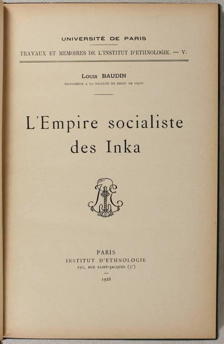 [Pérou] BAUDIN - L'empire socialiste des Inka - 1928 - Photo 0 - livre rare
