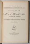 ALIOU TYAM (Mohammadou) et GADEN (henri, traducteur). La vie d'El Hadj Omar. Qacida en Poular. Transcription, traduction, notes et glossaire par Henri Gaden