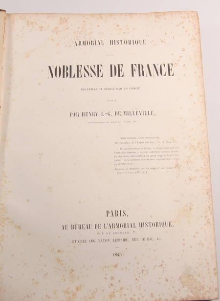 DE MILLEVILLE - Armorial historique de la noblesse de France - 1845 - Photo 2 - livre d'occasion