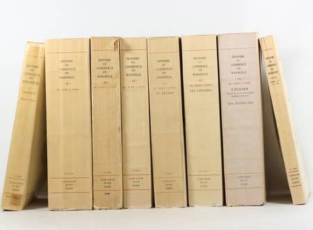 RAMBERT (G., sous la direction de), BUSQUET (Raoul), PERNOUD (Régine), BARATIER (E.), REYNAUD (F.), COLLIER (R.), BILLIOUD (J.), BERGASSE (L.) et PARIS (R.). Histoire du Commerce de Marseille, publiée par la chambre de commerce de Marseille sous la direction de Gaston Rambert