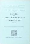 Ferdinand LOT - Recueil des travaux historiques de Ferdinand. III - 1973 - Photo 0, livre rare du XXe siècle
