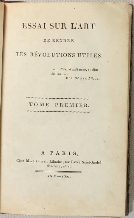 Essai sur l'art de rendre les révolutions utiles - 1801 - 2 volumes reliés - Photo 1 - livre rare