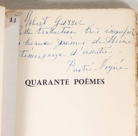 HEINE - 40 poèmes - Texte allemand - Traduction de Diane de Vogüé - 1956 - Photo 0 - livre rare