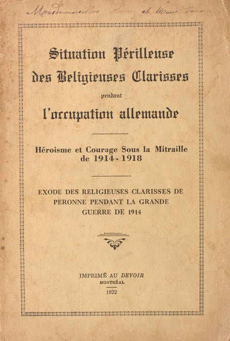 [Picardie 1914-1918] Situation des clarisses de Péronne - 1922 - Photo 0 - livre du XXe siècle