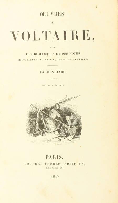 VOLTAIRE - La Henriade et divers écrits - 1840 - Relié - Photo 1 - livre de collection