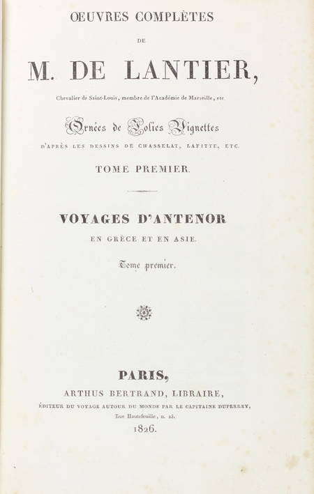 LANTIER - Voyages d'Antenor en Grèce et en Asie - 1826 - 3 volumes, carte - Photo 2 - livre de collection