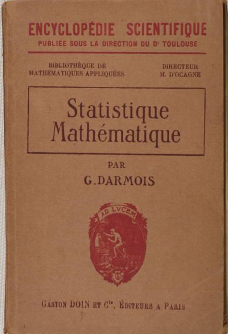 DARMOIS (Georges). Statistique mathématique, livre rare du XXe siècle