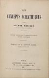 METZGER (Hélène). Les concepts scientifiques