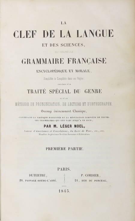 LEGER - La clef de la langue et des sciences - 1845 - 5 volumes reliés - Rare ! - Photo 1 - livre rare