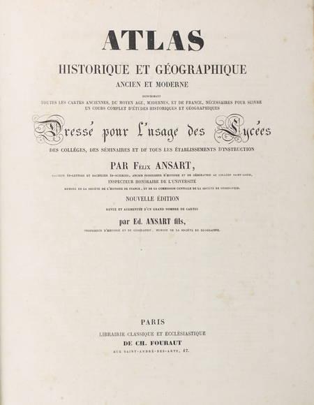 ANSART - Atlas ancien et moderne - 62 planches couleurs - Vers 1865 - Photo 1 - livre de collection