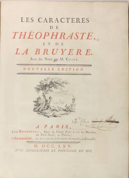 Les Caractères de Théophraste et de la Bruyère - 1765 - In-4 - Figures - Photo 2 - livre d'occasion