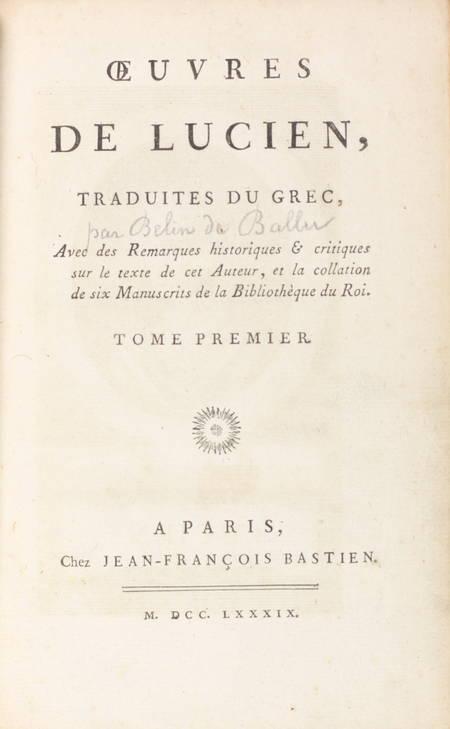 Oeuvres de Lucien traduites du grec avec des remarques historiques 1789 - 6 vols - Photo 2 - livre de bibliophilie