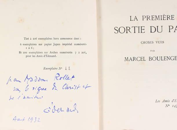 BOULENGER - La première sortie du pape. Choses vues - 1929 - Photo 1, livre rare du XXe siècle