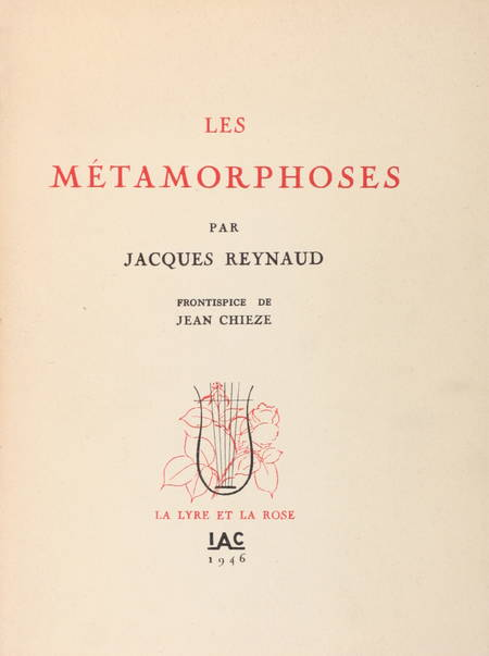 Jacques - REYNAUD Les métamorphoses - 1946 - EO + Lettre + Manuscrit - Photo 1, livre rare du XXe siècle