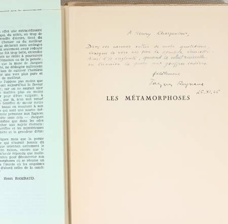 Jacques - REYNAUD Les métamorphoses - 1946 - EO + Lettre + Manuscrit - Photo 3 - livre de collection