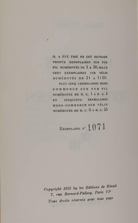 BECKETT - Nouvelles et textes pour rien - 1955 - 1/1100 vélin - Photo 0 - livre moderne