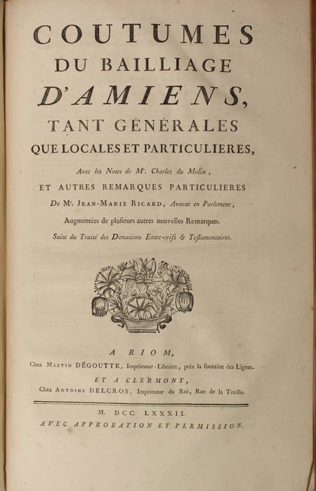 [Droit Picardie] RICARD - Oeuvres : Traités, coutumiers, ... - 1783 - 2 vol in-f - Photo 2 - livre rare