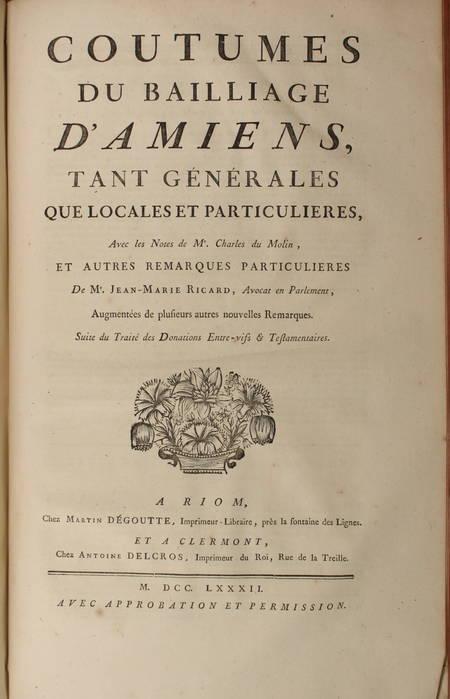 [Droit Picardie] RICARD - Oeuvres : Traités, coutumiers, ... - 1783 - 2 vol in-f - Photo 2 - livre ancien