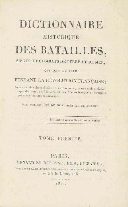 Dictionnaire historique des batailles de la Révolution - 1818 - 4 volumes - Photo 1 - livre de bibliophilie