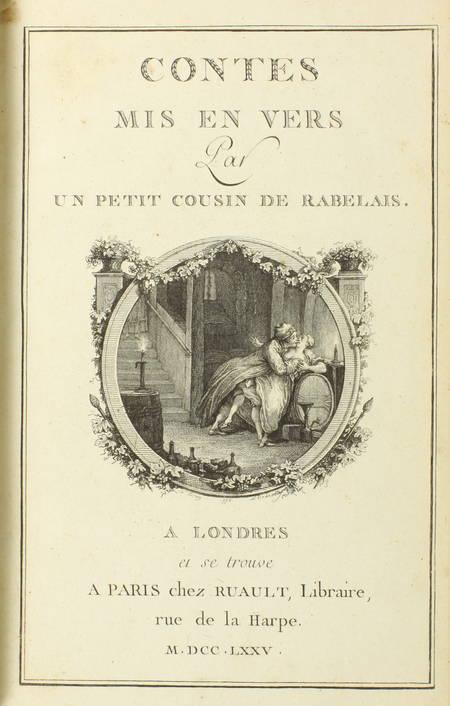 Contes mis vers par un petit cousin de Rabelais - 1775 - Frontispice de Eisen - Photo 2 - livre ancien