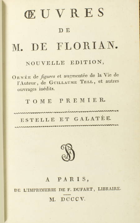 FLORIAN Estelle et Galatée 1805 Reliure de Petit sr de Simier - fig. de Queverdo - Photo 2 - livre rare
