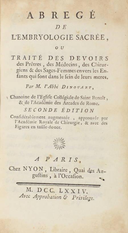 Embryologie sacrée, traité des devoirs des prêtres, médecins, chirurgiens - 1774 - Photo 2 - livre de bibliophilie