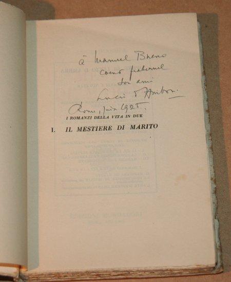 AMBRA (Lucio d'). Il mestiere di marito, livre rare du XXe siècle