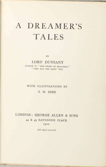 Lord DUNSANY - A dreamer's tales 1910 Edition originale - Illustrations de Sime - Photo 1 - livre du XXe siècle