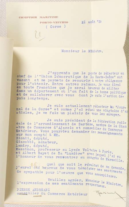 ANDREANI - Le fascisme et la Corse - 1939 - Envoi de l'auteur - Photo 2 - livre rare