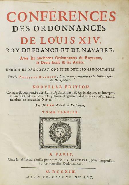 Conférences des ordonnances de Louis XIV, roy de France - 1719 - 2 vol. in-4 - Photo 1 - livre de bibliophilie