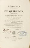VILLENEUVE-LAROCHE-BARNAUD (Louis-Gabriel de). Mémoires sur l'expédition de Quiberon, précédés d'une notice sur l'émigration de 1791, et sur les trois campagnes des années 1792, 1793, 1794;