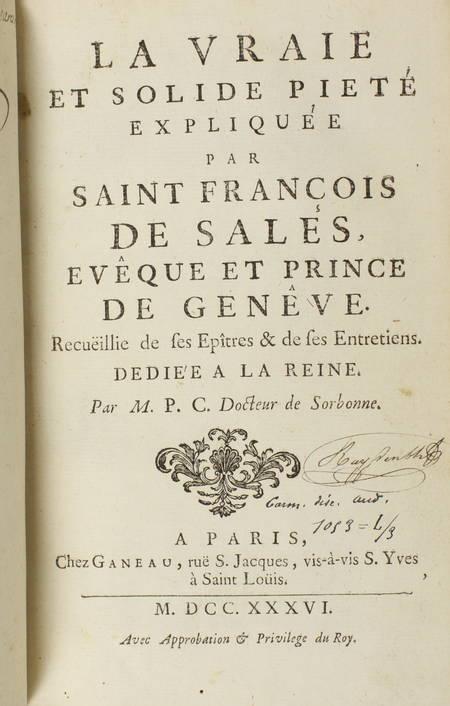La vraie et solide piété expliquée par Saint François de Sales, et de 1736 - Photo 1 - livre rare