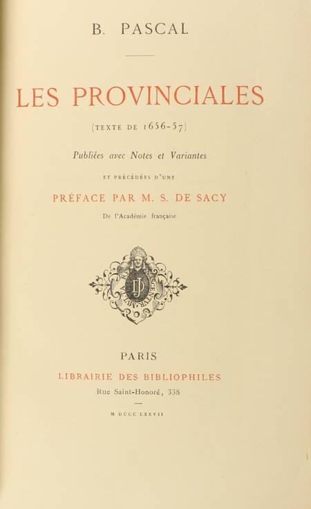 PASCAL - Les provinciales (Texte de 1656-57) - 1877 - Photo 0 - livre de collection