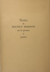MARINOT (Maurice). Notes de Maurice Marinot sur la peinture et pensées
